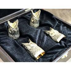 """Стопки-перевёртыши, бронзовые чарки в подарок рыбаку """"Щуки"""" в кейсе из эко-кожи, 4шт., фото 2"""