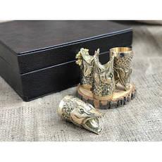 """Стопки-перевёртыши, бронзовые чарки в подарок рыбаку """"Щуки"""" в кейсе из эко-кожи, 4шт., фото 3"""
