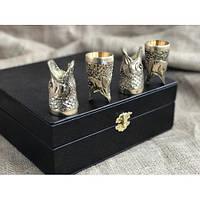 """Стопки-перевёртыши, бронзовые чарки """"Щуки"""" в кейсе из эко-кожи, 4шт. Оригинальный подарок мужу на день рыбака"""