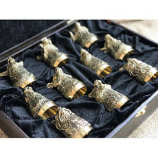 """Набор охотничьих чарок """"Трофеи"""" в кейсе из эко-кожи, 10шт., фото 2"""
