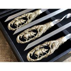 """Беспроигрышный подарок мужчине - стильный набор ручной работы с шампурами """"Кабан"""", в кейсе из эко-кожи, фото 2"""