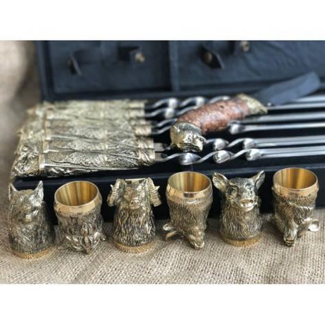 """Дорогой подарок мужчине ко дню рождения: шашлычный набор """"Wildness"""", в кейсе из эко-кожи, фото 2"""