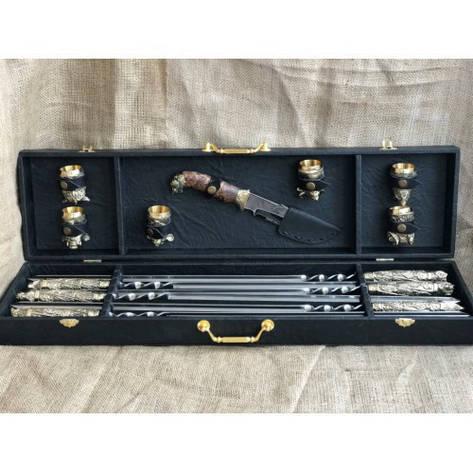 """Дорогой подарок мужчине ко дню рождения: шашлычный набор """"Wildness"""" (шампура, нож, 6чарок) в кейсе из эко-кожи, фото 2"""