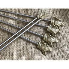 """Стійки для шампурів, похідний мангал-рамка з художнім литвом """"Лось"""", в сагайдаку, фото 2"""