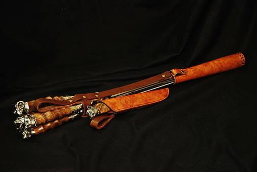 """Набор шампуров с подарочным ножом """"Охотничьи"""", в колчане из кожи - оригинальный подарок для мужчины, фото 2"""