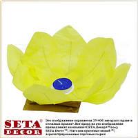 Уценка. Жёлтый лотос-подсвечник плавающий бумажный диаметр 30 см. Свеча в комплекте.
