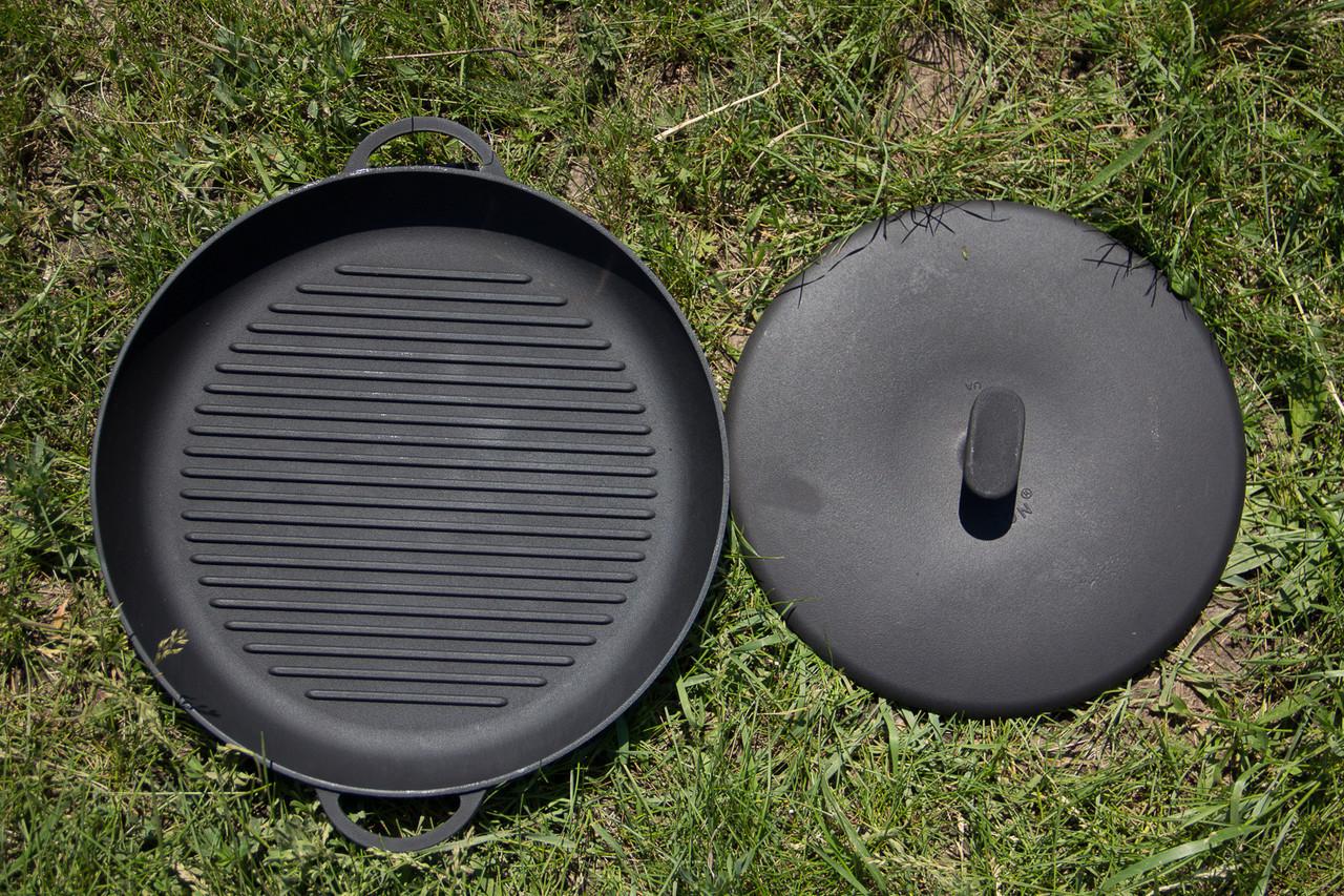 Чугунная сковородка-гриль с прессом, d 340мм