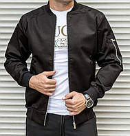 Мужской бомбер casual черного цвета из плотной ткани