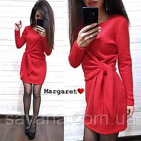 Женское вязаное платье с декором в расцветках. БЛ-7-0219