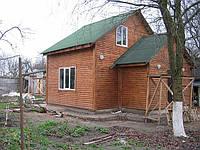 """Экологичный дачный домик блок-хаус натуральное дерево 9х5. """"Глеваха 1""""."""