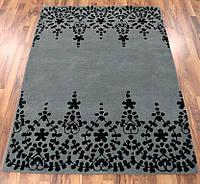 Темно серый ковер, ковры сотканные вручную, ковер кружево, фото 1