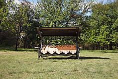 """Качели для сада """"1000 и 1 ночь"""" черные/шоколадные (с мягкой частью), материал основы - дуб (под заказ), фото 2"""
