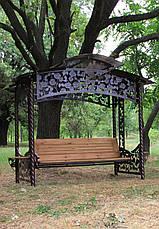"""Садовые качели """"Цветочные"""" (цвет шоколад), материал основы сидения - дуб (под заказ), фото 2"""