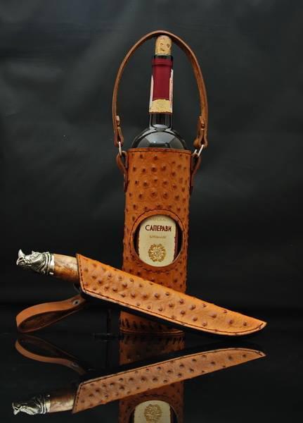 """Подарочный винный набор для мужчины """"Wine set"""" - с ножом из н/ж или дамасской стали (под заказ)"""