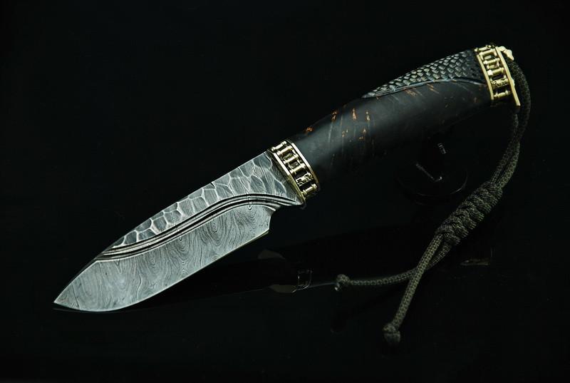 """Нож дамаск """"Каменный3"""", авторский нож из дамасской стали"""
