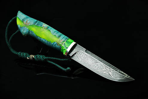 """Авторський колекційний ніж """"Cannabis"""", мозаїчний дамаск, фото 2"""