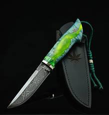 """Авторский коллекционный нож """"Cannabis"""", мозаичный дамасск (наличие уточняйте), фото 2"""