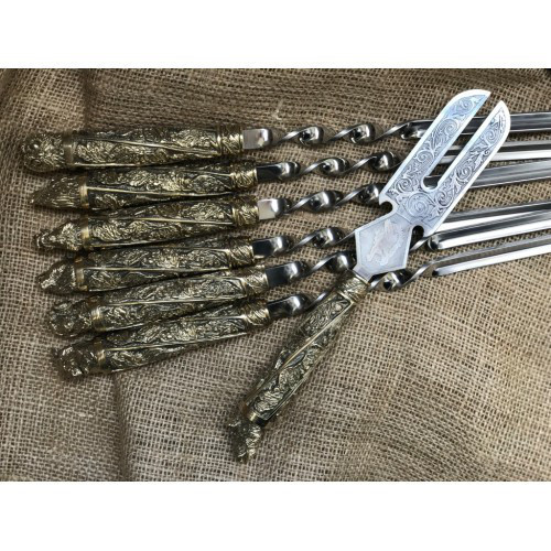 """Набор шампуров из бронзы с вилкой для снятия мяса """"Дикие звери"""" в колчане (наличие уточняйте)"""