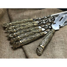 """Набор шампуров из бронзы с вилкой для снятия мяса """"Дикие звери"""" в колчане (наличие уточняйте), фото 3"""
