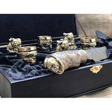 """Набор подарочных чарок из бронзы """"Козацкие"""", в комплекте с ножом, фото 2"""