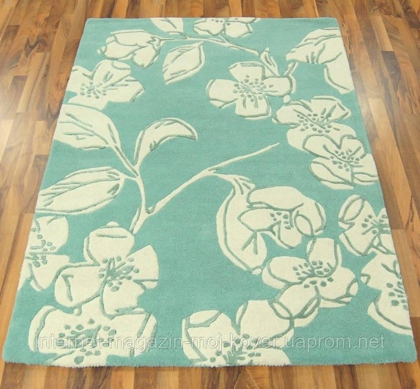 Тканные ковры ручной работы Индия, ковер цветы на голубом фоне