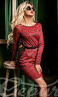Молодежное женское платье с поясом в шотландскую клетку длинный рукав круглый вырез горловины , фото 1
