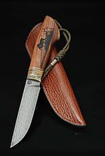"""Нож ручной работы из дамасской стали """"Дичь"""", со вставкой из зуба мамoнта и гравировкой, фото 3"""