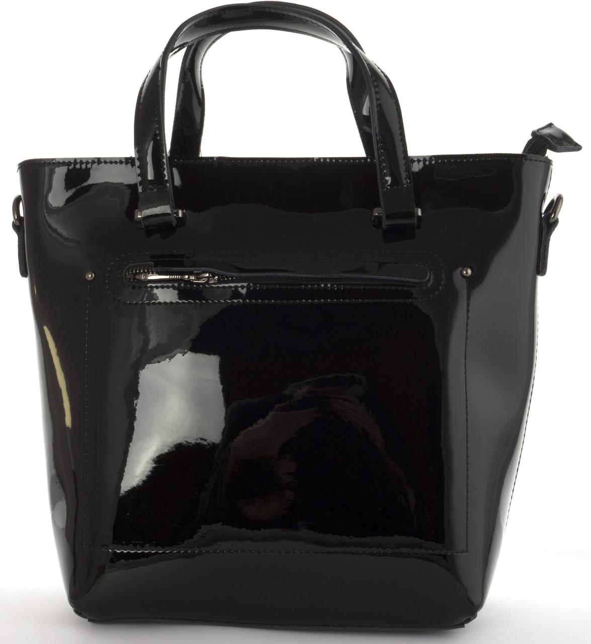 Стильная  женская средняя сумка из натуральной лакированной кожи Solana art. 327 черная