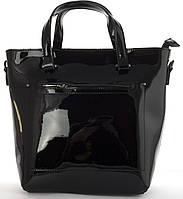 Стильная  женская средняя сумка из натуральной лакированной кожи Solana art. 327 черная, фото 1