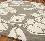 Бежевий килим з квітковим малюнком на підлогу в будинок, фото 2