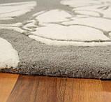 Бежевий килим з квітковим малюнком на підлогу в будинок, фото 3
