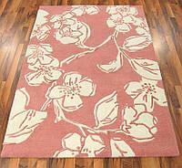 Бледно розовый ковер для спальни в цветочном стиле, фото 1