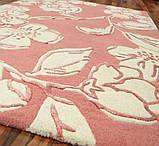 Бледно розовый ковер для спальни в цветочном стиле, фото 3