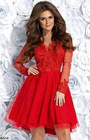 Платье женское вечернее ( выпускное ) гипюровое Цвет : Красный Размер 42 44 46 Материал : верх - гипюр + подкладка + сетка, низ - габардин + фатин