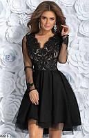 Платье женское вечернее ( выпускное ) гипюровое Цвет : Черный Размер 42 44 46 Материал : верх - гипюр + подкладка + сетка, низ - габардин + фатин