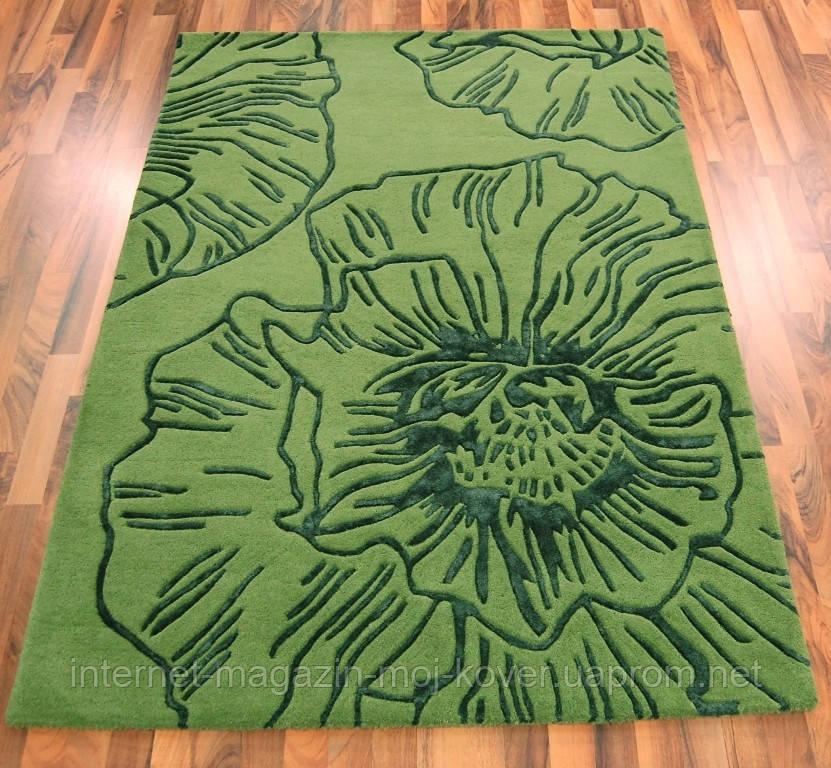 Красивейшие ковры из шерсти с рисунком из вискозы зеленого цвета