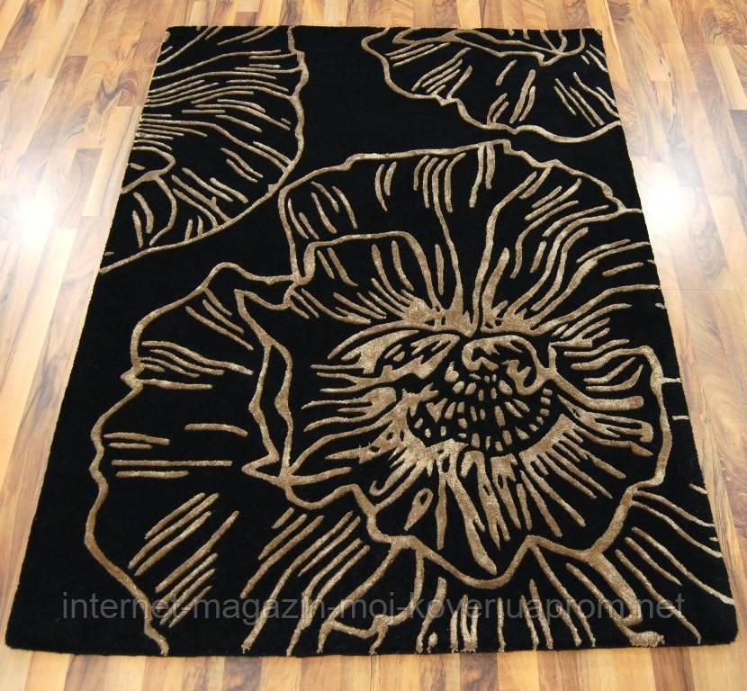 Купити чорний килим з золотим малюнком