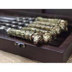 """Шампуры с бронзовыми рукоятками """"Охотничьи псы"""", в кейсе из бука, фото 2"""