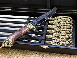 """Подарочный набор с шампурами ручной работы """"Львы"""", в кейсе из эко-кожи, фото 2"""