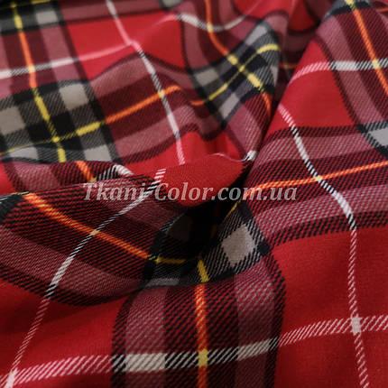 Французский трикотаж принт клетка шотландка красная, фото 2