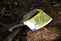 Нож секач ручной работы, кухонный топорик с лазерной гравировкой с украинской символикой, 40Х13