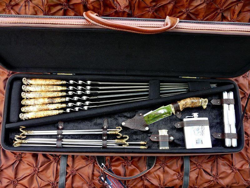 """Подарочный набор шампуров с ножом, флягой, мангалом """"Овен XXL"""", в кейсе из эко-кожи"""