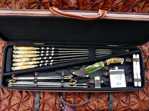 """Подарочный набор шампуров с ножом, флягой, мангалом """"Овен XXL"""", в кейсе из эко-кожи, фото 2"""