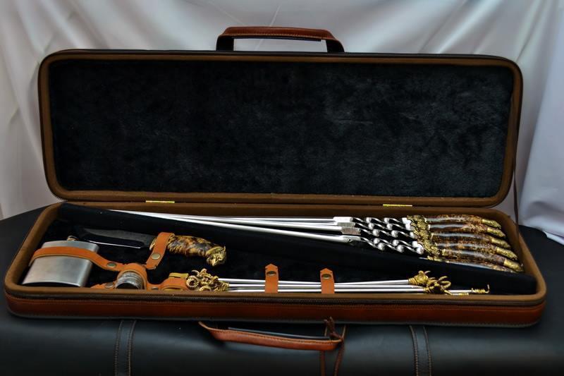 """Подарочный набор шампуров с ножом, мангалом и флягой """"Буржуй-3"""" (наличие уточняйте)"""