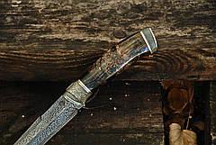 """Авторский коллекционный нож из бивня мaмонтa """"Древний"""", мозаичный дамаск, фото 2"""
