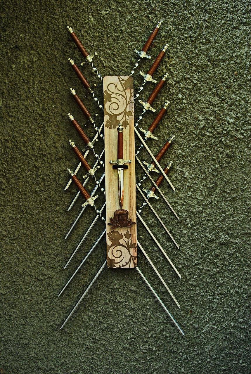 """Настенный декор-чехол для шампуров и ножа №5 (аксессуар для шампуров только из папки """"эксклюзив"""")"""