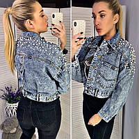 Модная короткая джинсовая куртка с жемчугом, фото 1