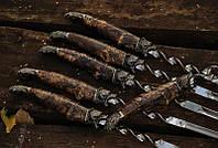 """Набор шампуров с деревянной ручкой в подарок мужчине """"Гризли"""", в колчане из кожи"""