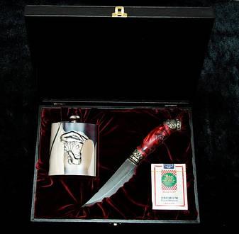 """Ножевой набор """"Козырный"""" - комплект состоит из ножа, карт, фляги в кейсе (под заказ), фото 2"""