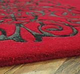 Ярко красный ковер с вискозным рисунком, фото 2